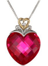 XPY Created Ruby Heart and Diamond-Accent Pendant  Necklace
