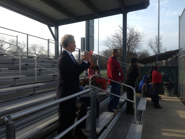 Mayor Rahm Emanuel at baseball game at Brooks