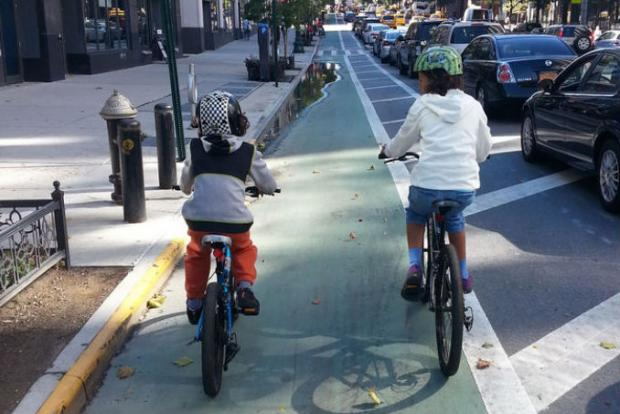 A protected bike lane on Columbus Avenue on the Upper West Side. DOT has proposed adding a protected bike lane on Fourth Avenue in Brooklyn, between Dean Street and 65th Street.