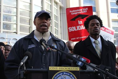 Borough President Eric Adams spoke out against the executive order at the rally for Rafiee. He was joined by Hercules Reid, right, Student Government Association president at CUNY CIty Tech who is in touch with Rafiee's cousin to help her family get legal help.