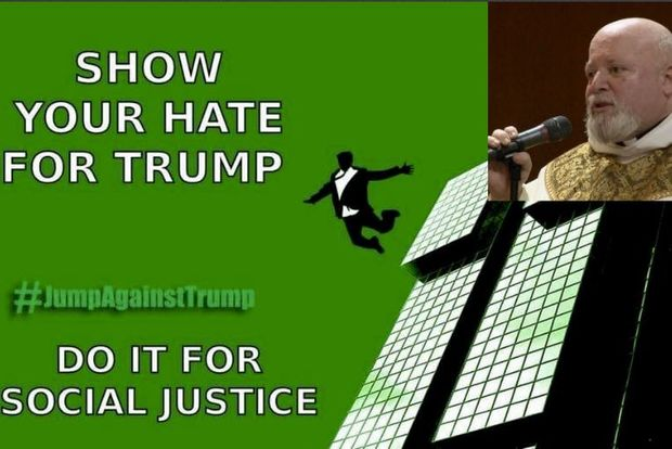 Rev. Philip Pizzo (inset), who oversees St. Benedict Joseph Labre Roman Catholic Church in Richmond Hill, posted a meme on his Facebook page encouragingTrumpprotesters to commit suicide.