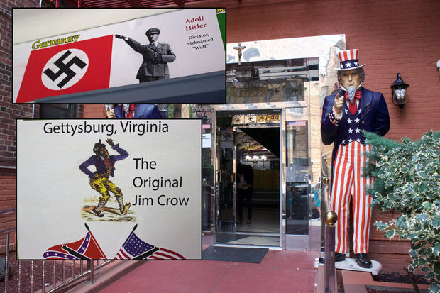 Inset: images posted in the building's lobby included a photo of Hitler and a Jim Crow-like caricature. The outside of the building is flanked by two Uncle Sam statues.