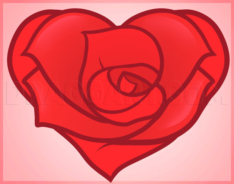 How To Draw A Heart Rose Rose Heart Step By Step Drawing Guide By Dawn Dragoart Com