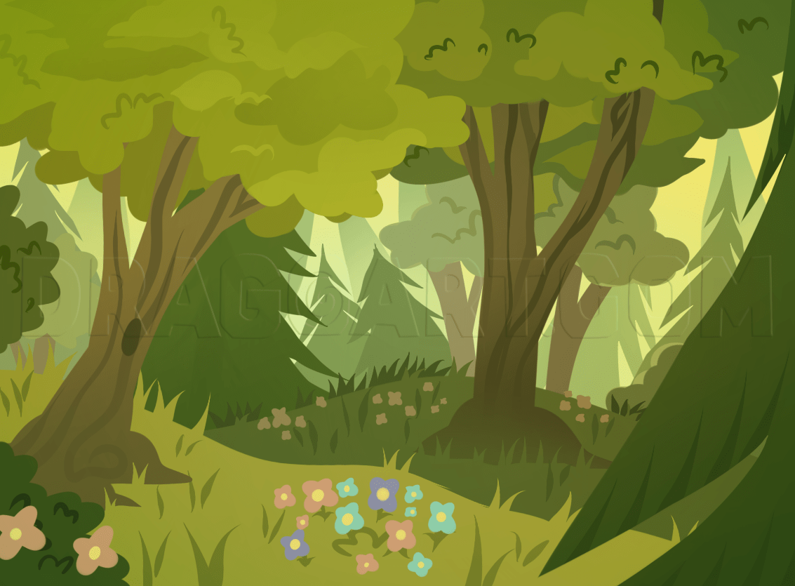 They are incredibly diverse and complex, home to more than half of the world's plant and animal species—even though they cover just 6% of earth's surface.this makes rainforests astoundingly dense with flora and fauna; How To Draw Forests Forest Backgrounds Step By Step Drawing Guide By Dawn Dragoart Com