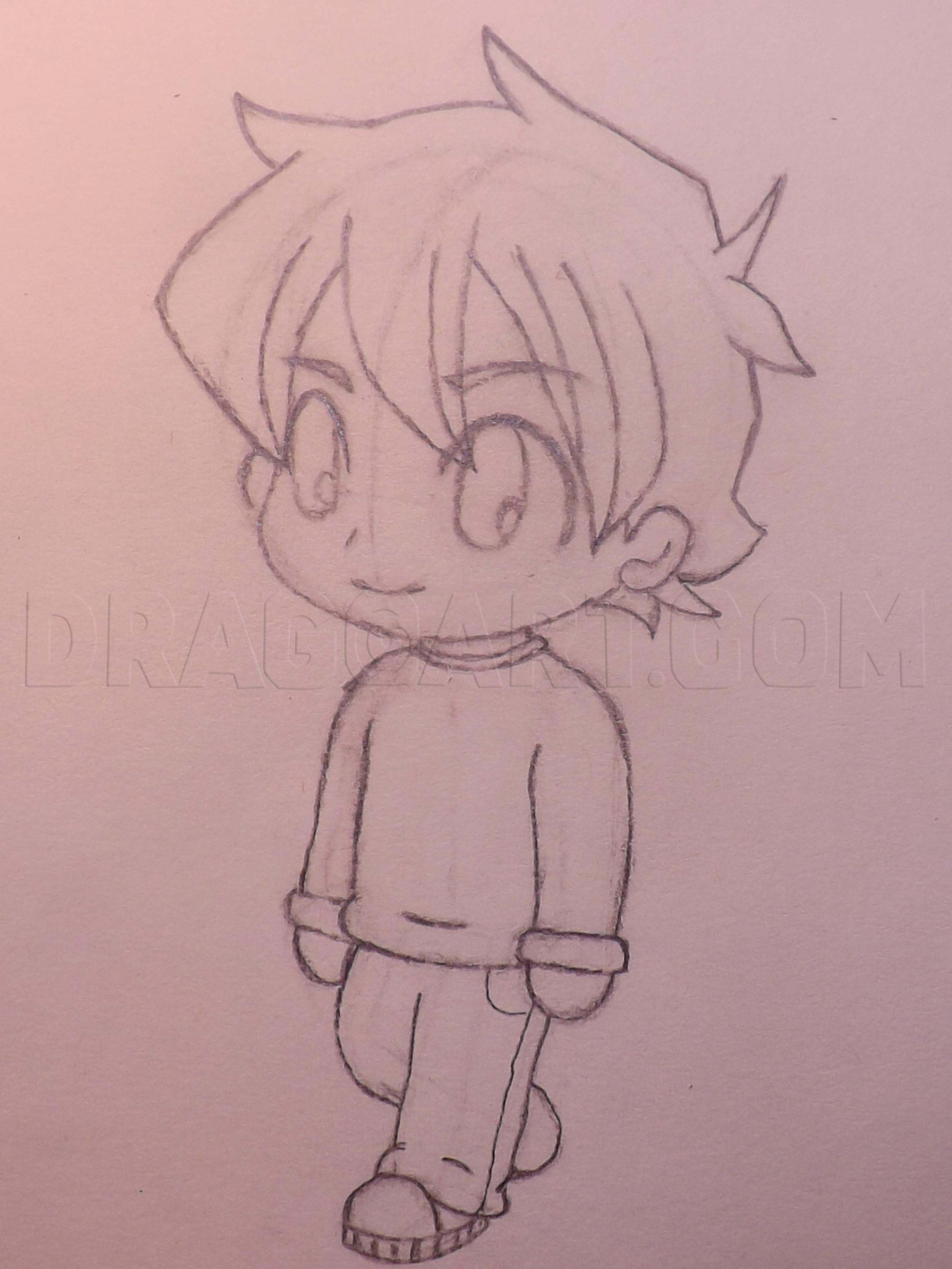 How To Draw A Chibi Boy : chibi, Chibi, Step,, Drawing, Guide,, GreenKirby, Dragoart.com