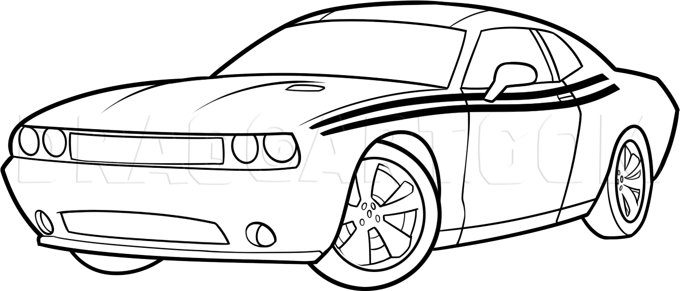 How To Draw A 2014 Dodge Challenger, Step by Step, Drawing