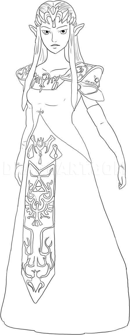 Princess Zelda Drawing : princess, zelda, drawing, Zelda,, Step,, Drawing, Guide,, Dragoart.com