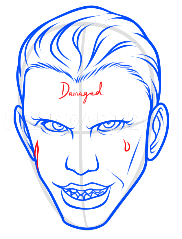 How To Draw Joker Face : joker, Suicide, Squad, Joker, Easy,, Step,, Drawing, Guide,, Dragoart.com