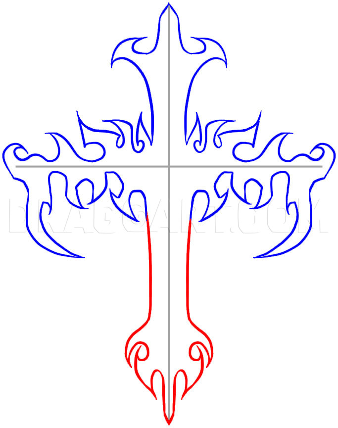 How To Draw A Cross Step By Step : cross, Tribal, Cross,, Step,, Drawing, Guide,, Dragoart.com