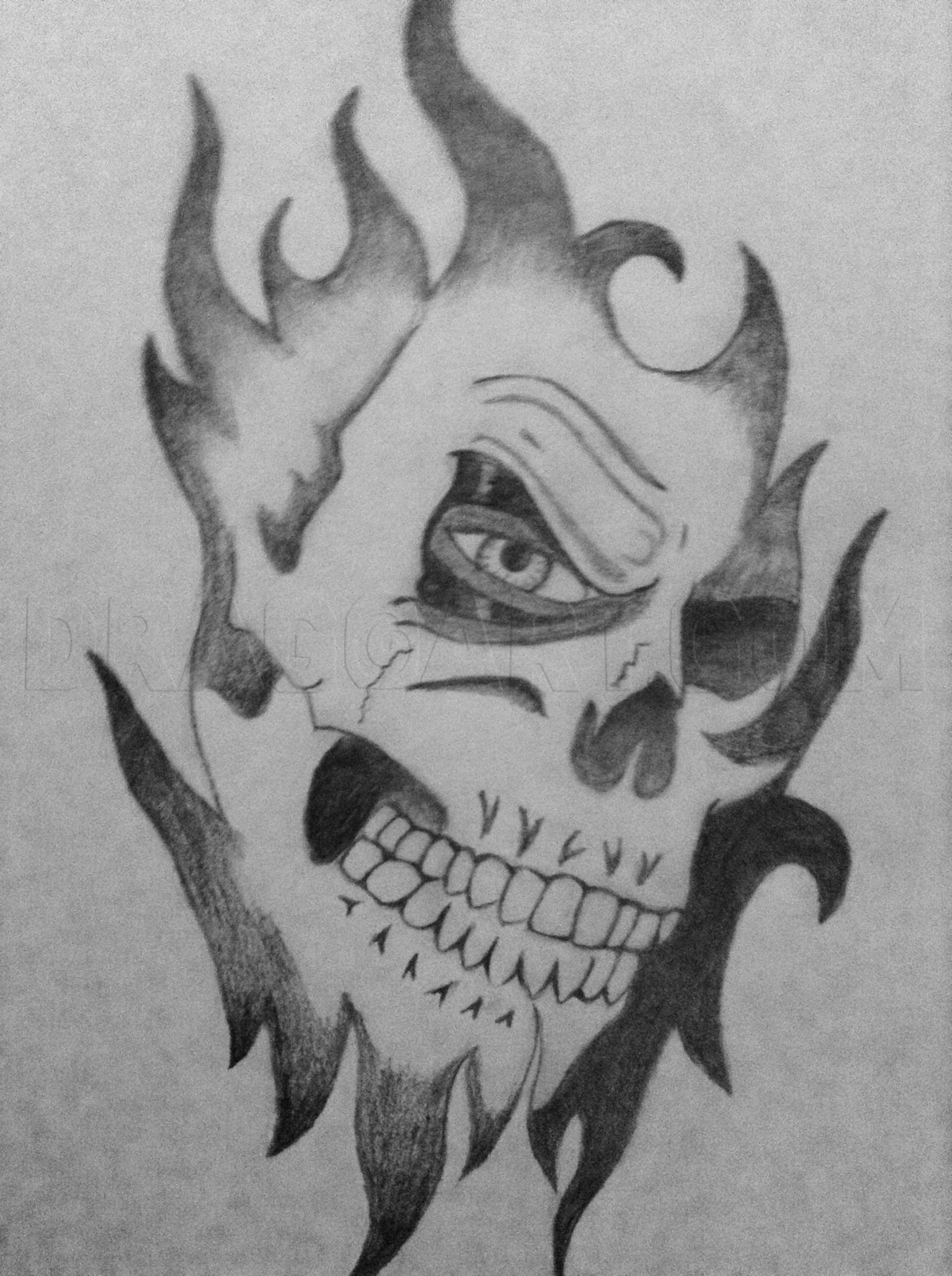 Cool Skull Sketch : skull, sketch, Awesome, Skull,, Step,, Drawing, Guide,, XxxkimyxxX, Dragoart.com