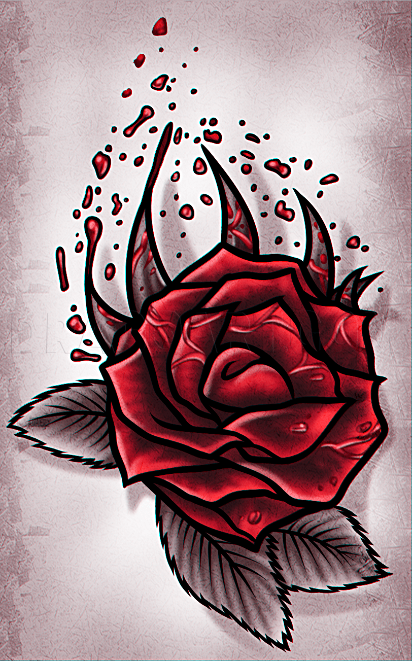 Rose Design Drawing : design, drawing, Tattoo, Design,, Step,, Drawing, Guide,, Dragoart.com
