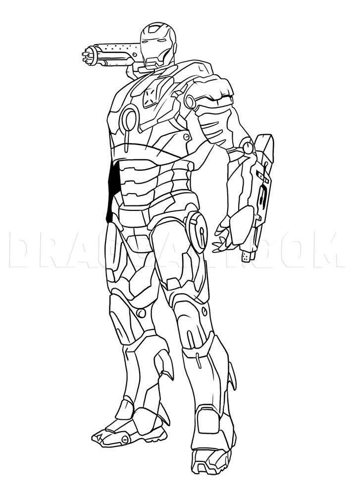 How To Draw War Machine : machine, Machine,, Step,, Drawing, Guide,, Dragoart.com