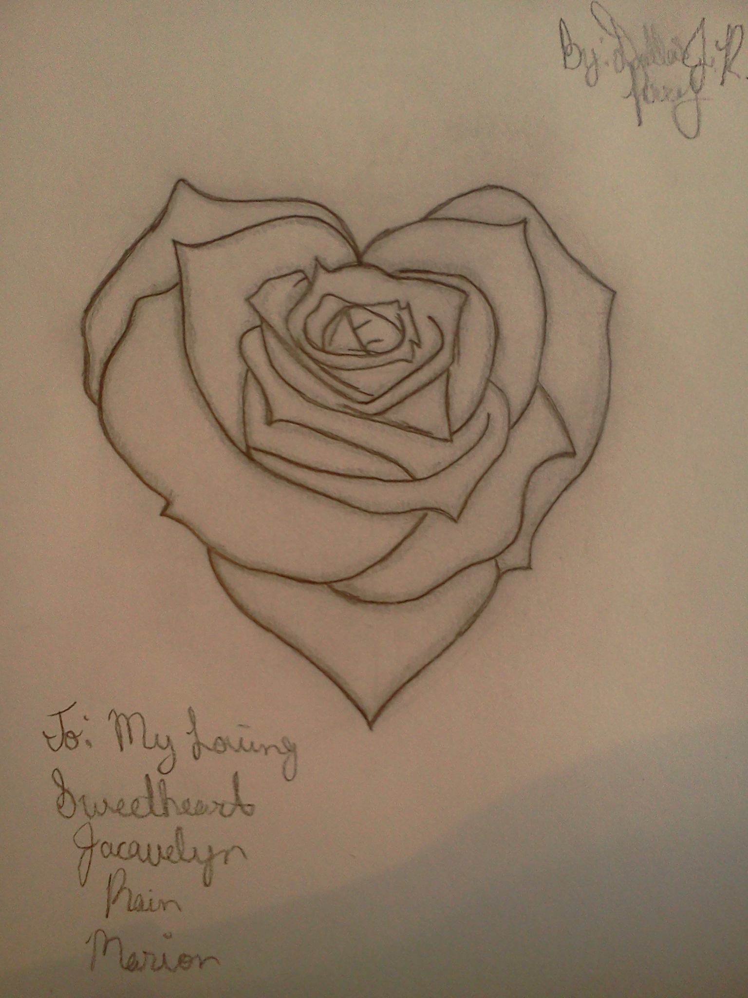 Heart Rose Drawing : heart, drawing, Heart, Drawing, Dj502, Dragoart.com