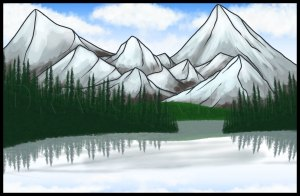 draw lake drawing mountain step drawings dragoart landscape
