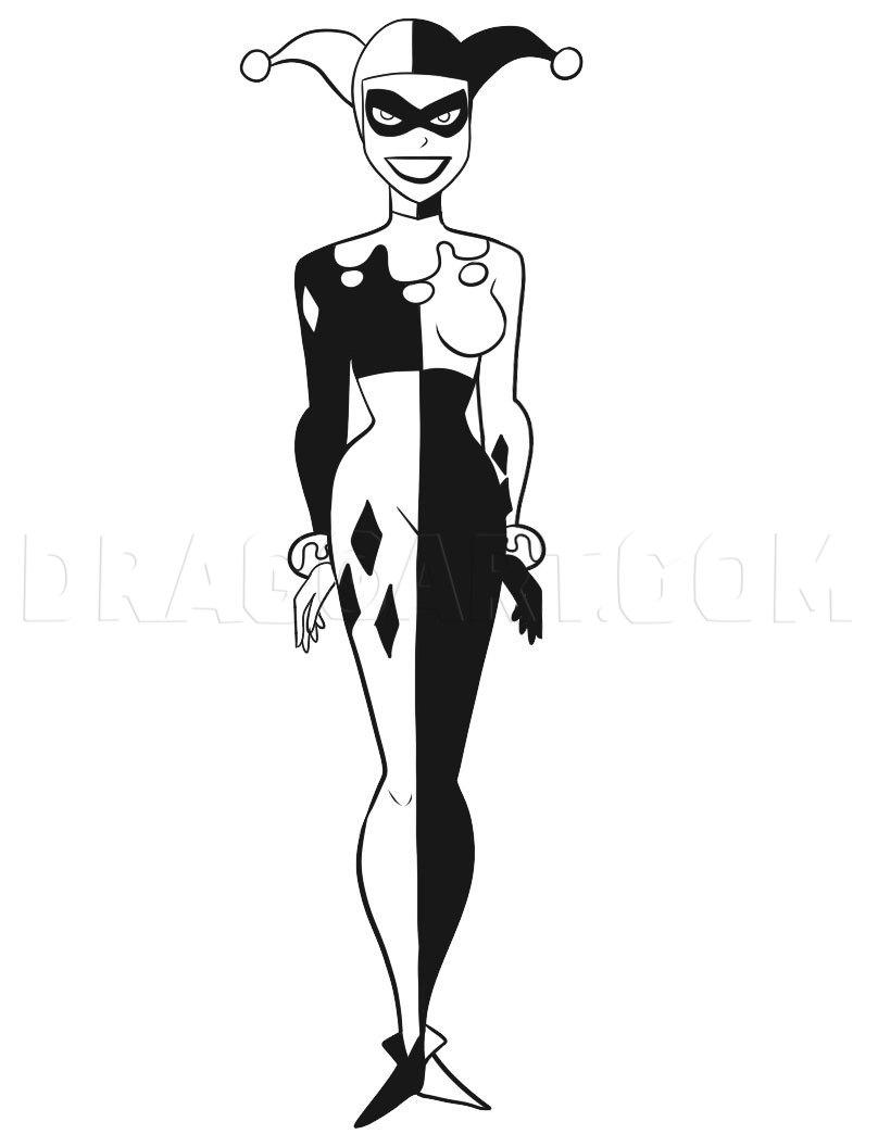 Harley Quinn Outline : harley, quinn, outline, Harley, Quinn,, Step,, Drawing, Guide,, Dragoart.com