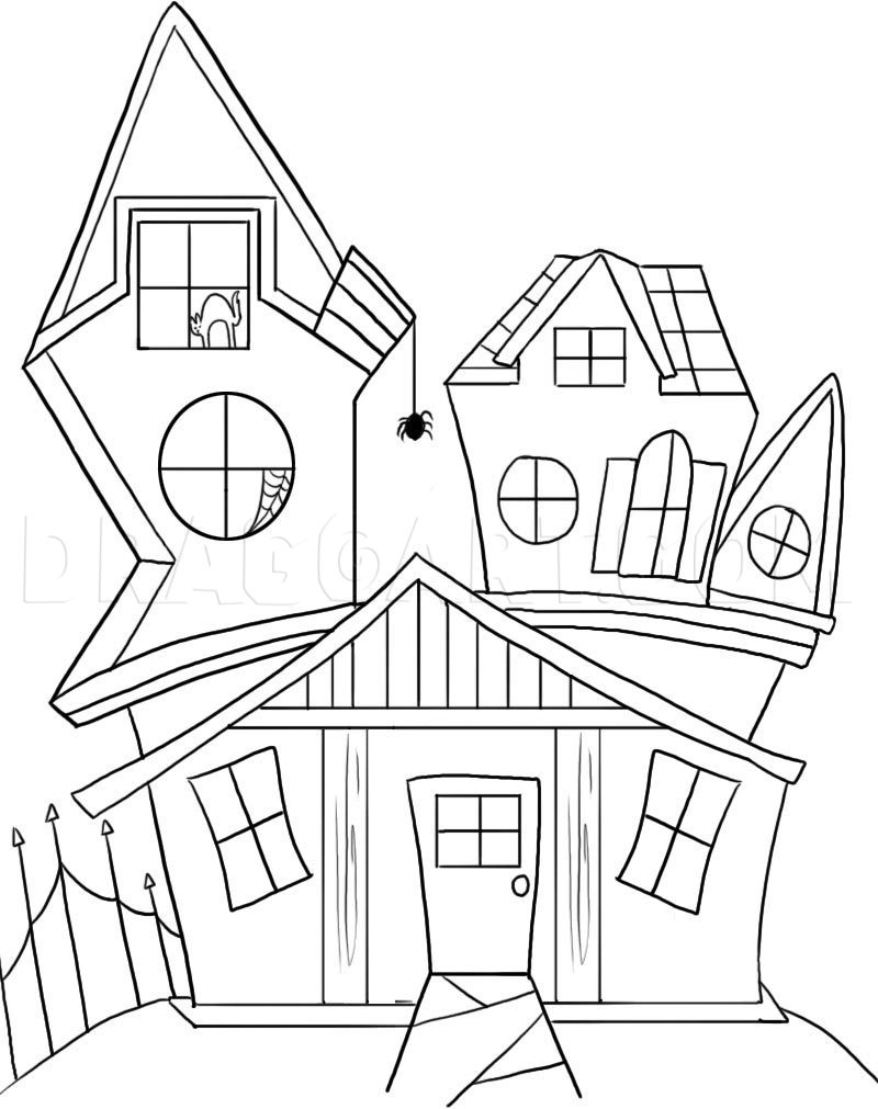 Spooky House Drawing : spooky, house, drawing, Spooky, House,, Step,, Drawing, Guide,, Dragoart.com