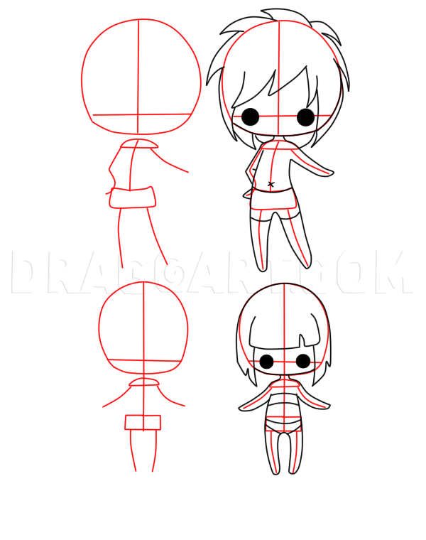 Drawing Chibi Bodies : drawing, chibi, bodies, Chibi, Bodies,, Step,, Drawing, Guide,, Jedec, Dragoart.com