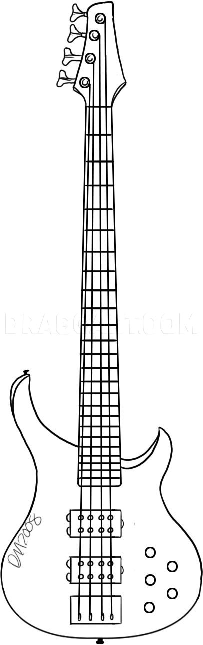 Bass Drawing Easy : drawing, Guitar,, Step,, Drawing, Guide,, Dragoart.com