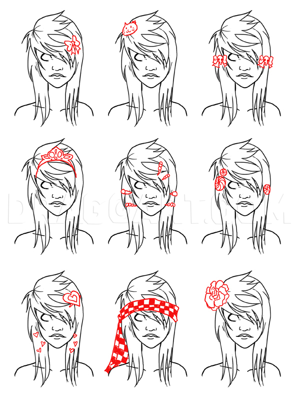 How To Draw Emo Hair : Scene, Hair,, Step,, Drawing, Guide,, NeekoNoir, Dragoart.com