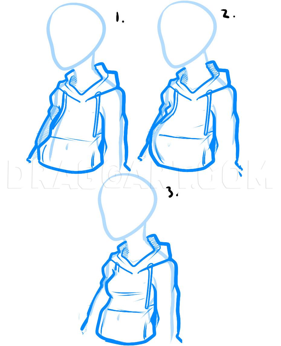 How To Draw A Hood Down : Hoodie,, Hoodies,, Step,, Drawing, Guide,, Dragoart.com