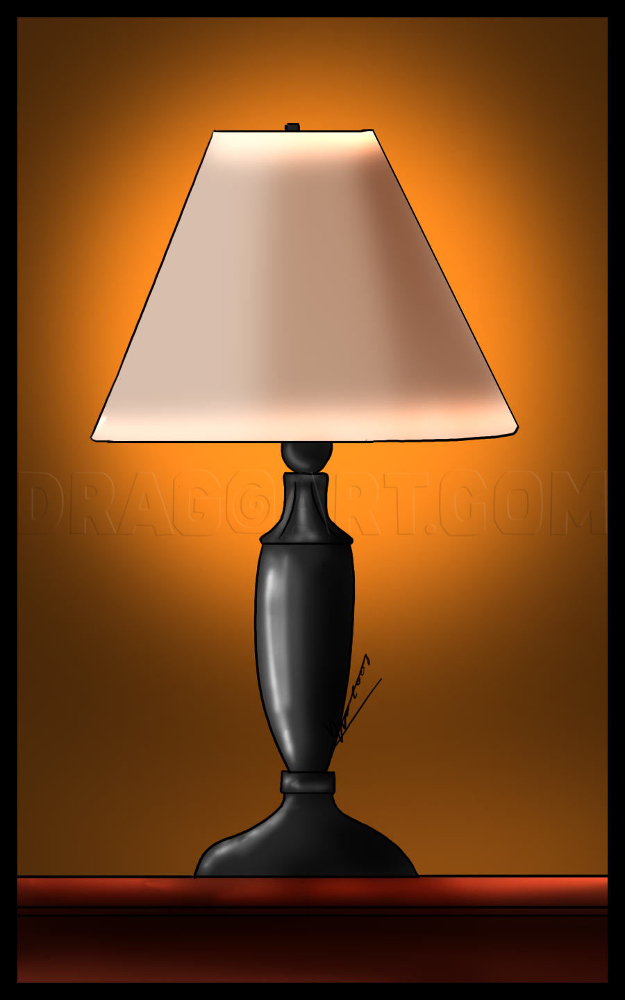 Lamp Drawing Easy : drawing, Lamp,, Step,, Drawing, Guide,, Dragoart.com