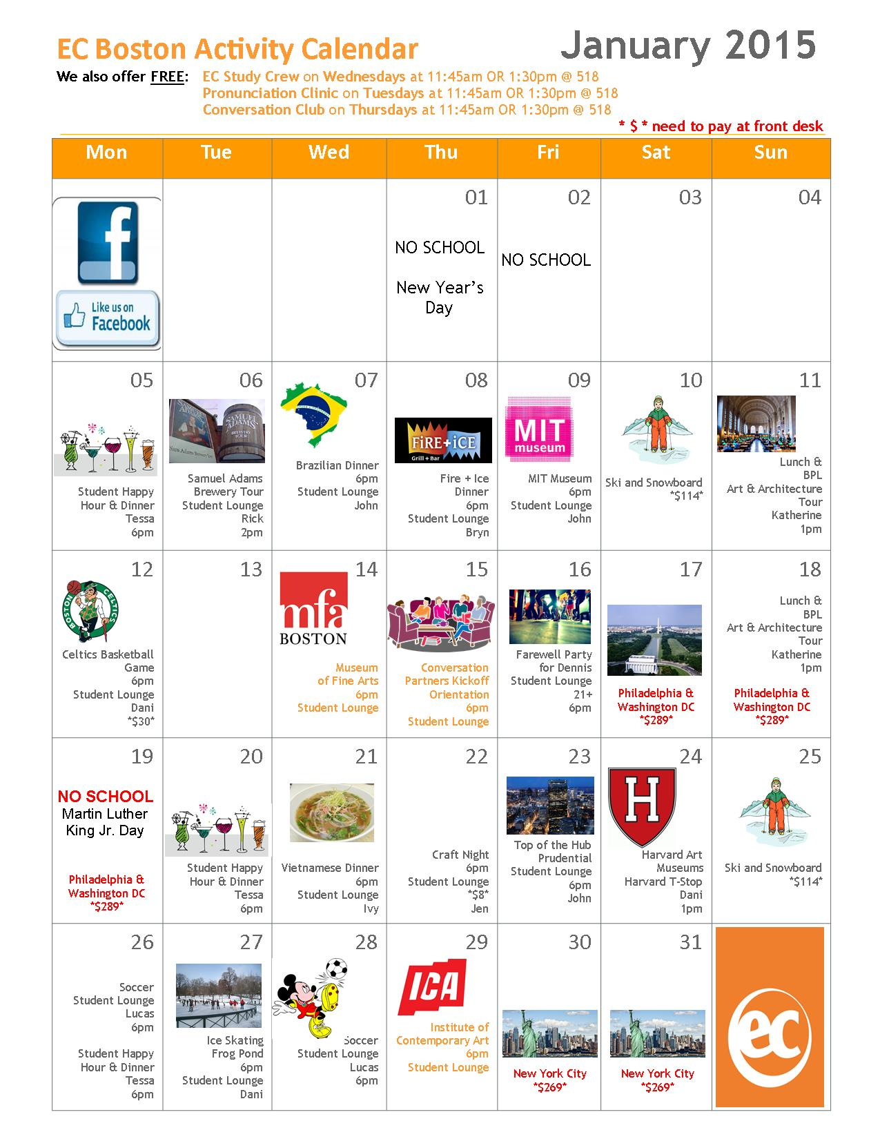 Ec Boston January Activity Calendar