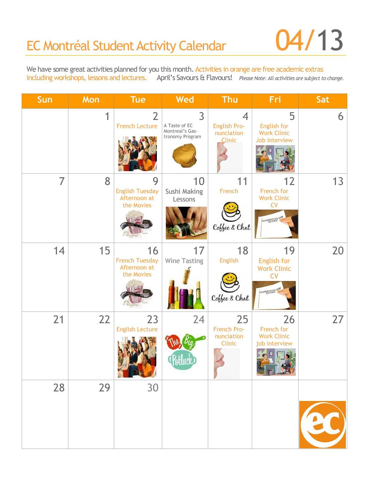 Free Social And Academic Activities Calendar For April At