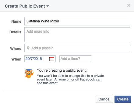 Per risparmiare sui costi di una campagna social media potete usare gli eventi. Hanno un ottimo successo e sono gratuiti
