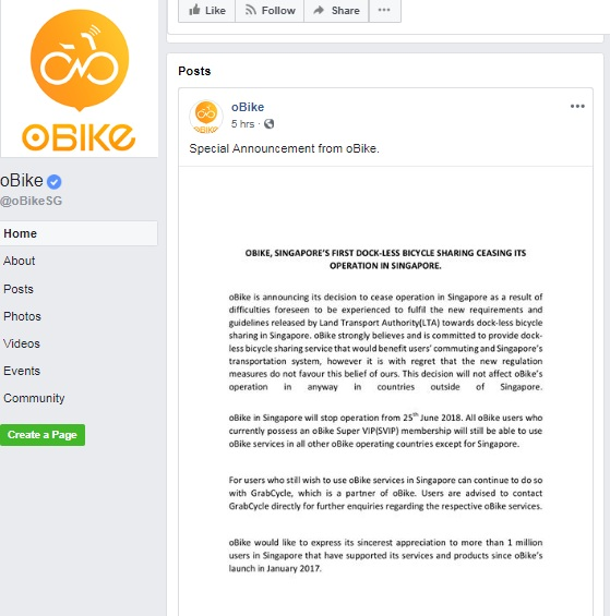 Why this Bike-sharing Company has Pulled out its Operations from Singapore?