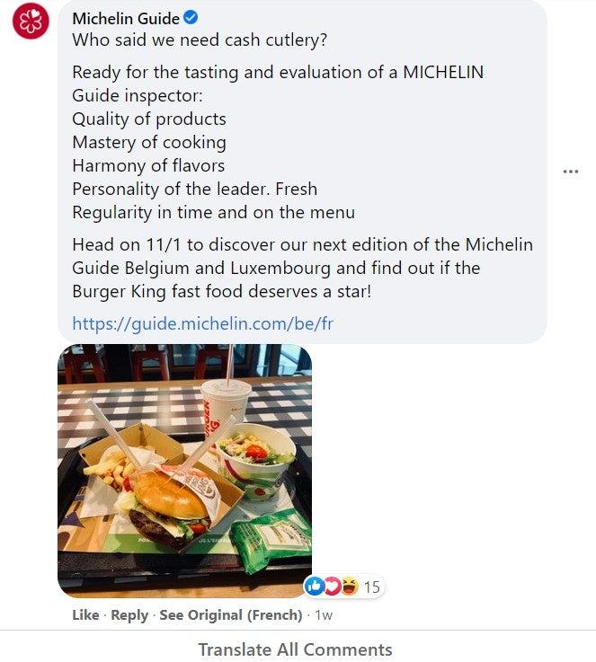 Les critiques Michelin disent qu'ils n'ont pas besoin de couverts en argent.