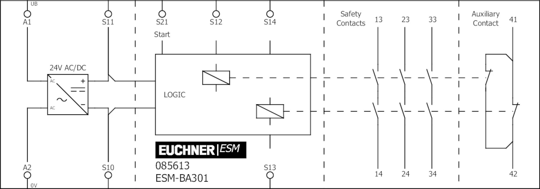 ESM-BA301 Basic device ESM-BA3.., 3 safety contacts, 1
