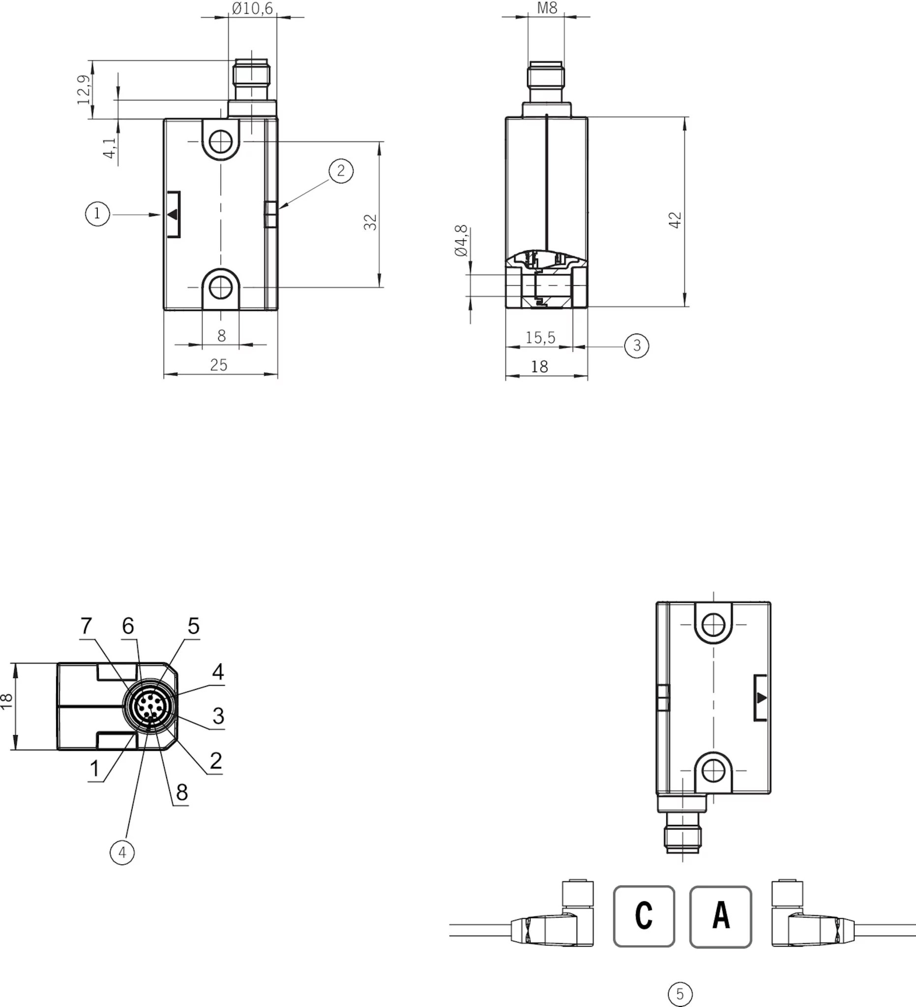 CES-I-AR-M-C04-SG-119474 Non-contact safety switches CES-I
