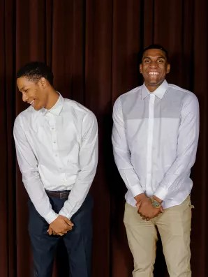 Rookie Patrick McCaw, and second-year player Kevon Looney, of the Warriors, at the dinner. Photos: Damien Maloney for Fast Company