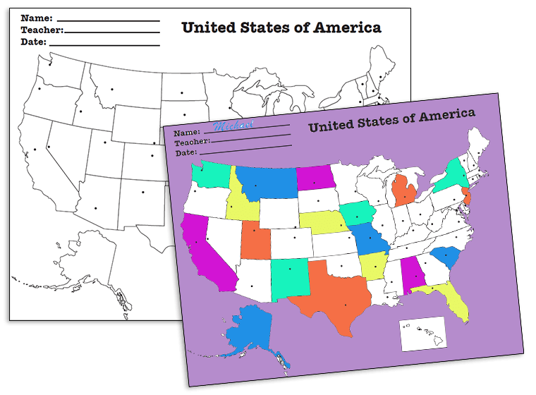 This fun worksheet includes a vibrant map of u.s. Printables Us Map With States And Capitals Fellowes