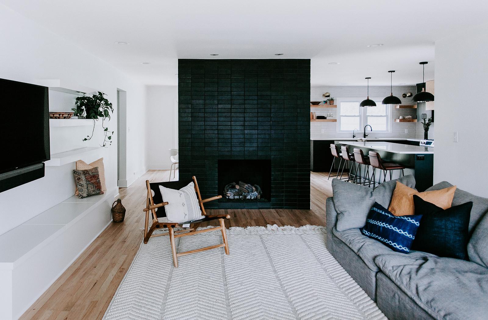 modern black brick fireplace surround