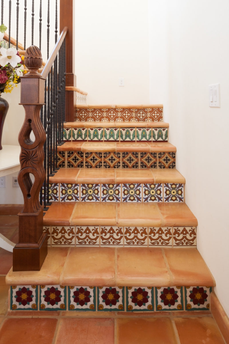 Spanish Colonial Stairway Fireclay Tile   Stairs Tiles Design For Home   Outside Staircase   Stair Tread   Color   Exterior   Custom