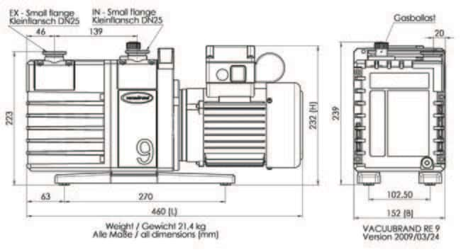 VACUUBRAND™ RE 9 Model One-stage Rotary Vane Pump Plug