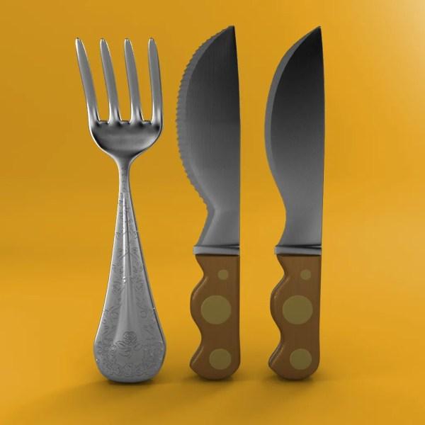 Cartoon - Fork Knife Toothed 3d Model