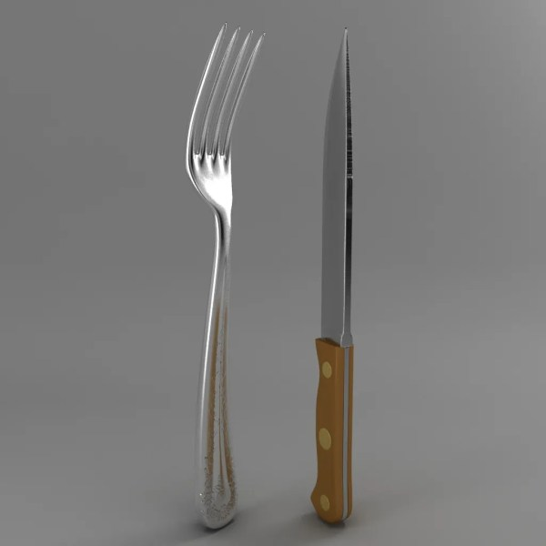 Fork And Wood Handle Knife 3d Model Flatpyramid