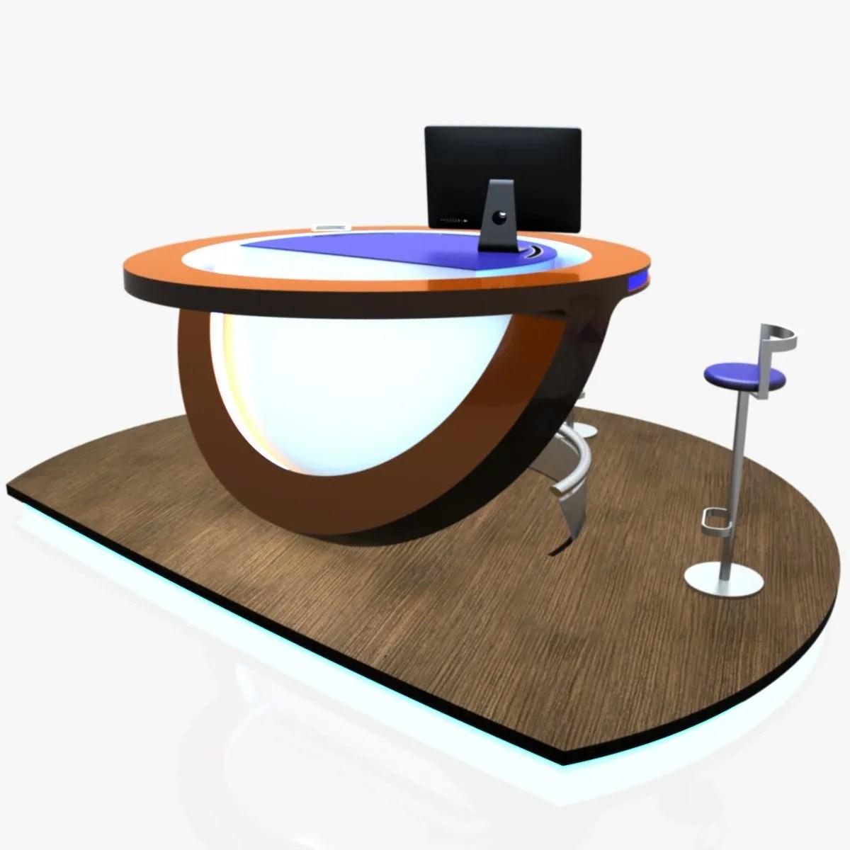 Virtual Tv Studio News Podium Desk Chair Imac27 Ip 3D