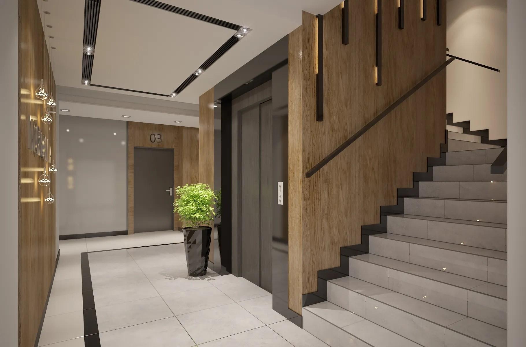 Interior design of Apartments building Entrance Ha 3D