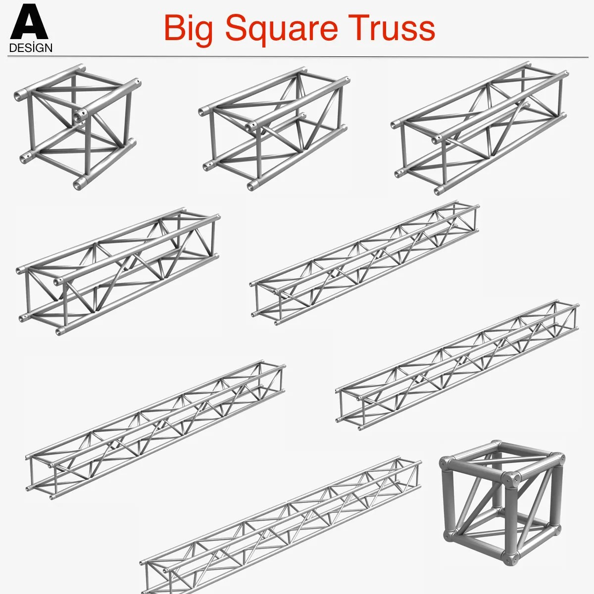 Big Square Truss (Collection 10 Modular Pieces) 3D Model