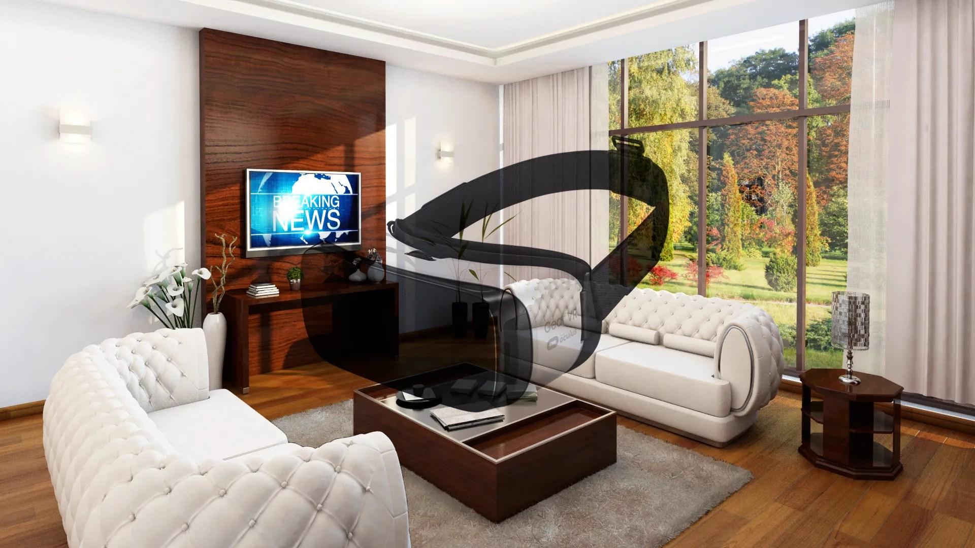 Cubic For Cardboard Virtual Reality Living Room 3d Model Flatpyramid