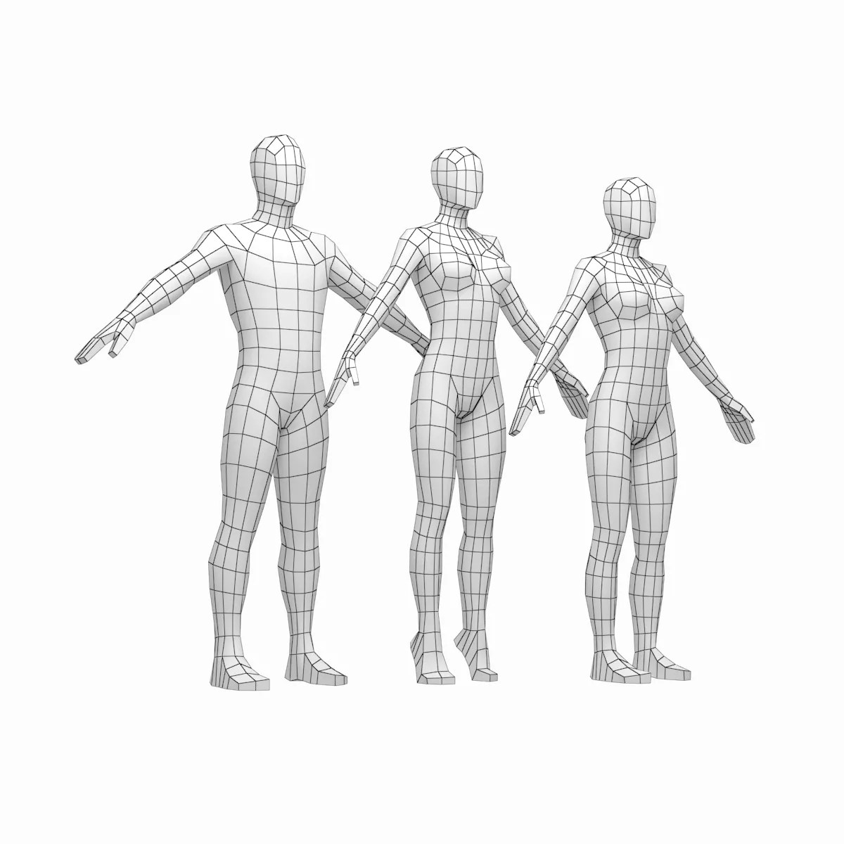 Male and Female Low Poly Base Mesh in A-Pose 3D Model