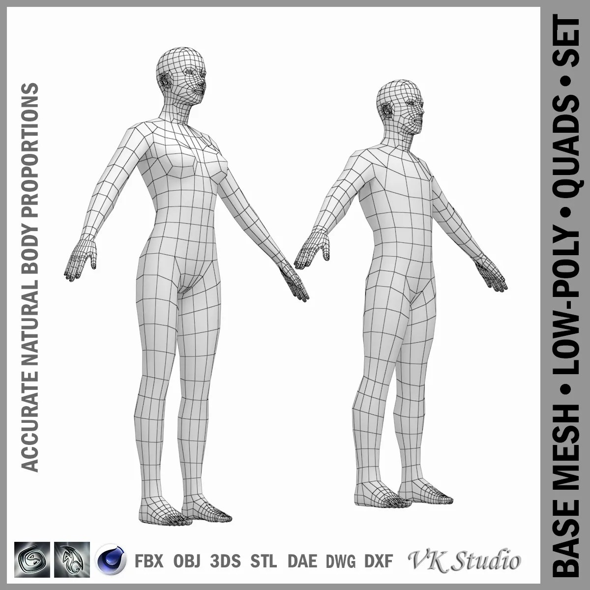 Female And Male Base Mesh In A Pose 3d Model
