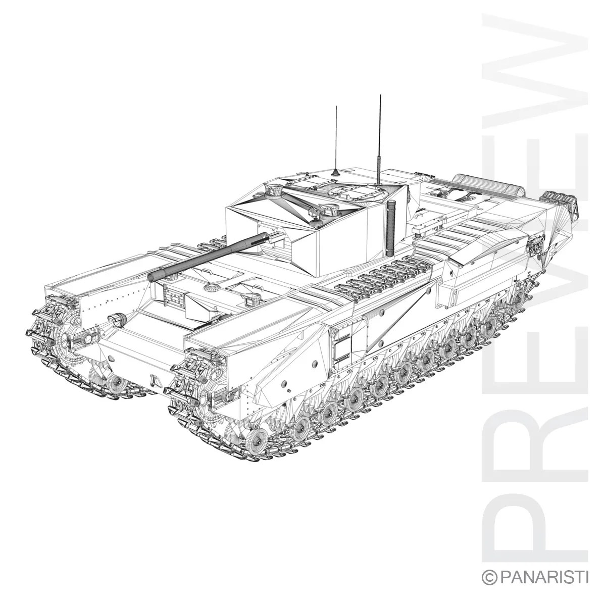 Churchill Infantry Tank MK.III 3d Model Army Mathilda 3ds