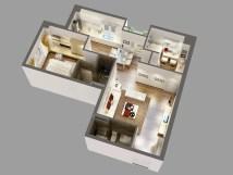 Detailed House Cutaway 3d Model - Flatpyramid