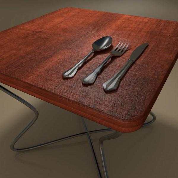 Tableware Spoon Fork Knife 3d Model Flatpyramid