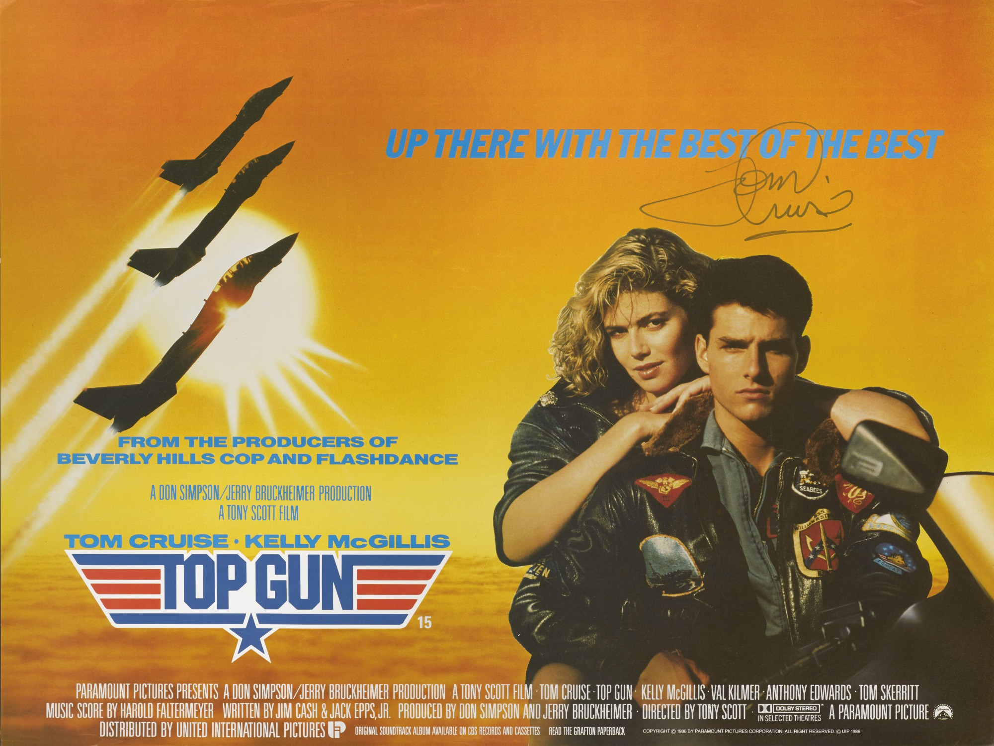 top gun 1986 movie poster fonts in use