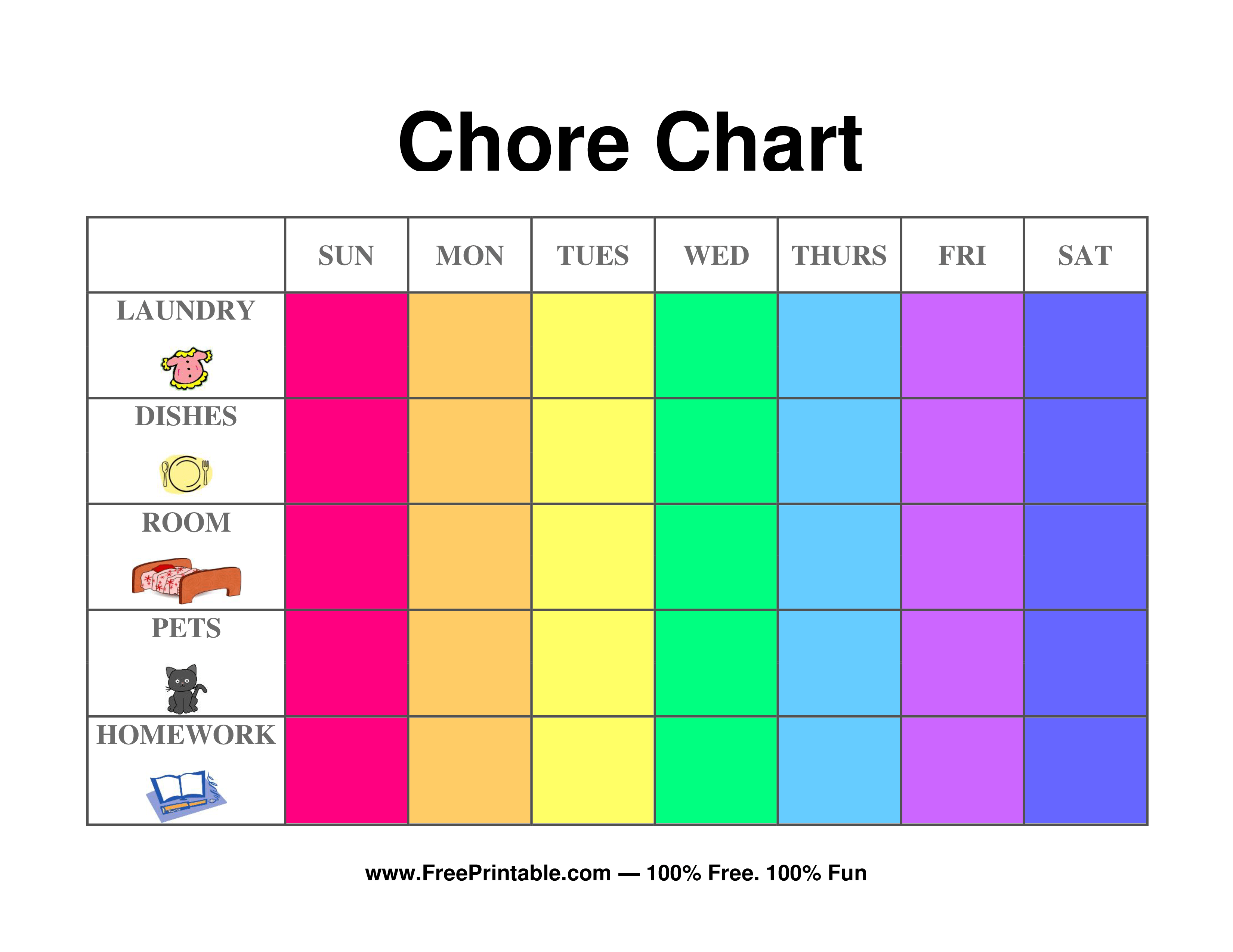 Customize Your Free Printable Illustrated Chore Chart